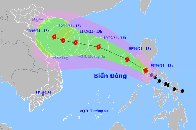 Bão Côn Sơn đêm nay vào Biển Đông, mạnh cấp 9
